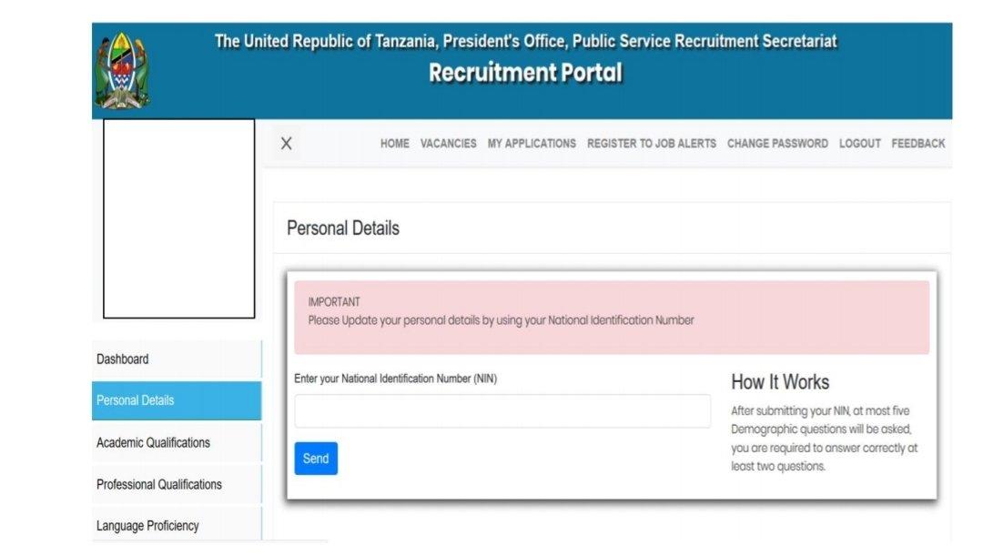 Ajira Portal System Profile Registration